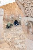Restoration works in Byzantine church in Petra — Stock Photo