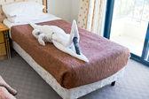 ベッドの上のタオルからワニ図 — ストック写真