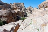 Panorama of old sandstone mountain near Little Petra — Stock Photo