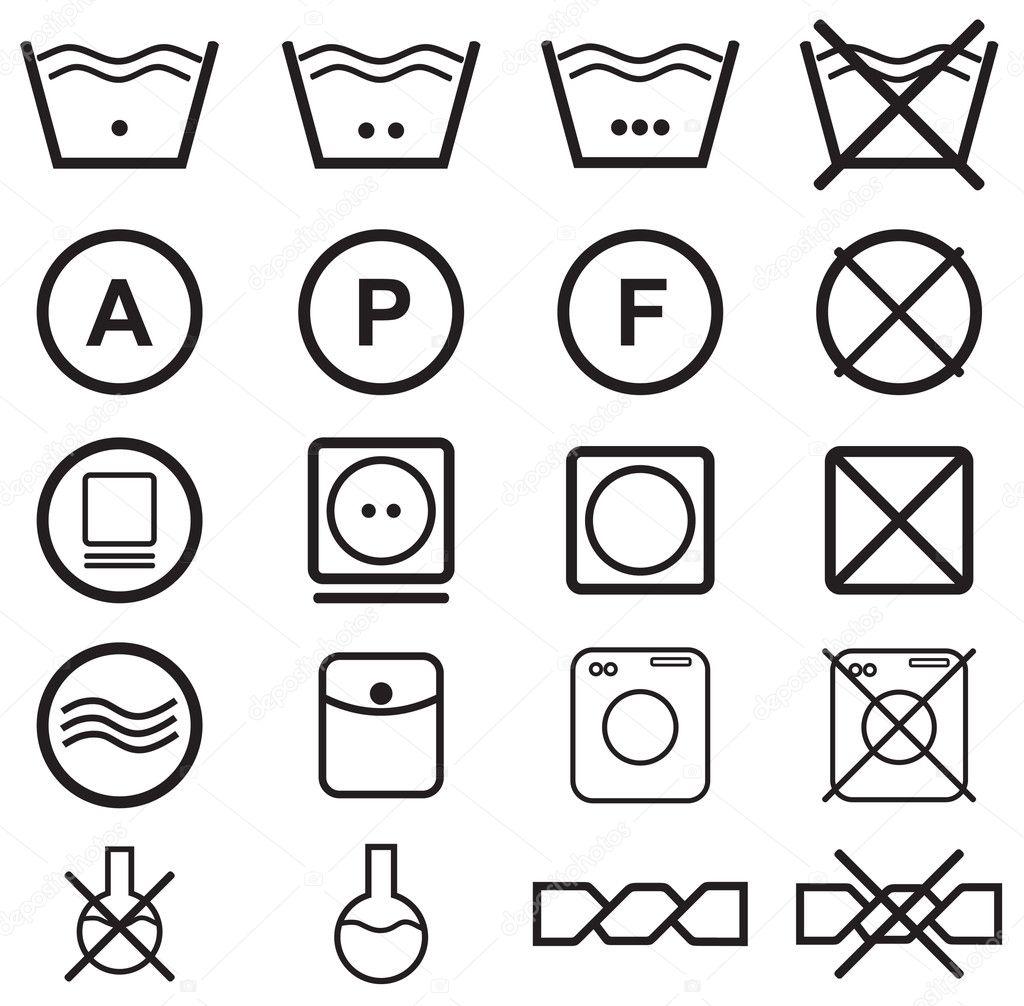 Ensemble de symboles de lavage image vectorielle timka - Instructions de lavage symboles ...