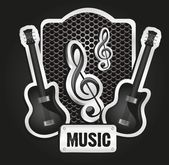 Musical metal label — Stock Vector