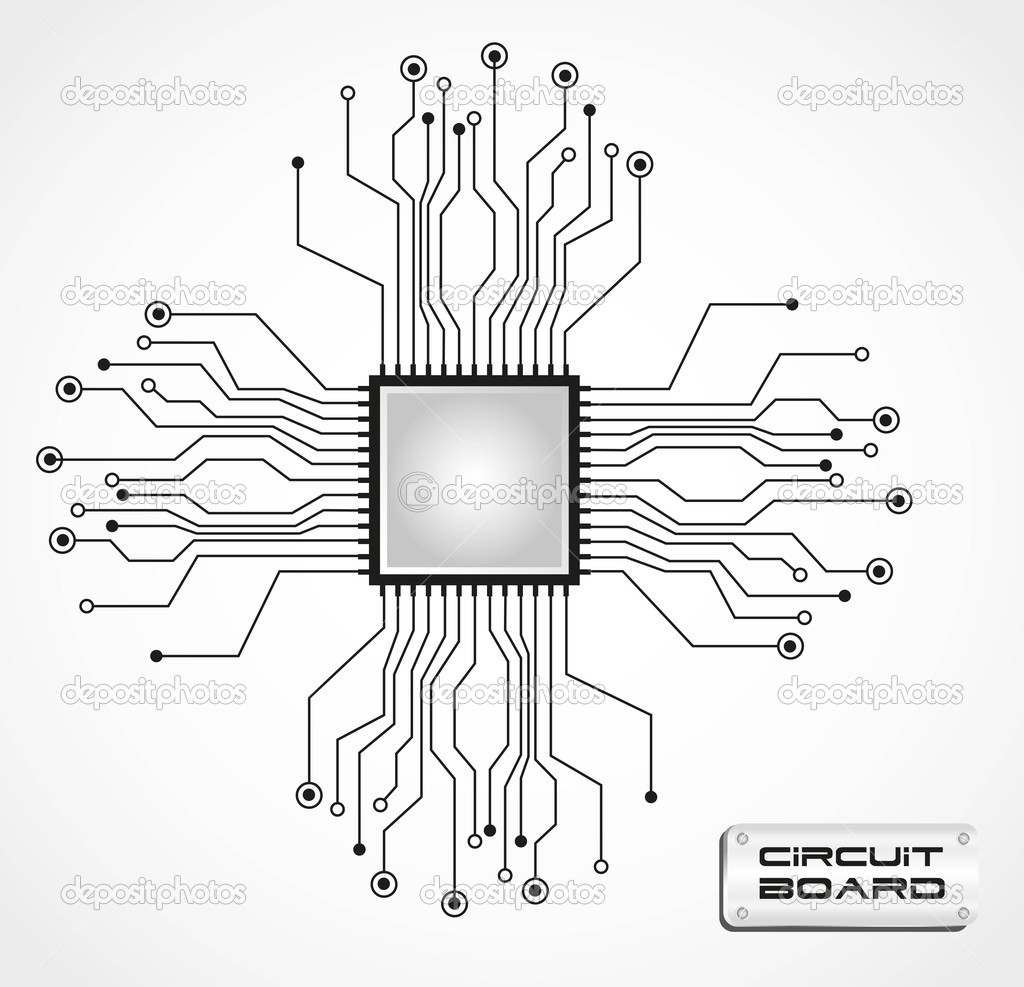 circuit board cpu  u2014 stock vector  10242626
