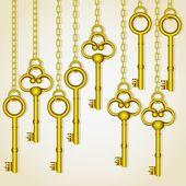 Eski altın anahtarları — Stok Vektör