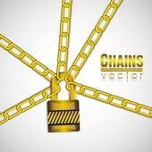 Gold chains with a padlock — Stock Vector