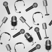Pattern of headphones and microphones — Stock Vector
