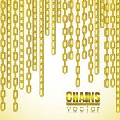 Gold link chain dangling — Stock Vector