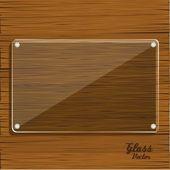 Glazen plaat op houten — Stockvector