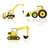 Caricature of construction machinery — Stock Vector