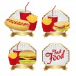 Stock Vector: Labels fast food combo