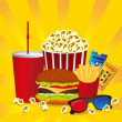 Stock Vector: Cine fast food combo
