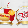 Hot dog combo with french fries and soda - Stock Vector