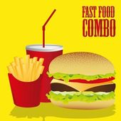 Fast food combo — Stock Vector