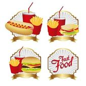Labels fast food combo — Stock Vector