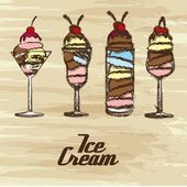 Grunge edged ice creams — Stock Vector