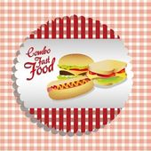 Fast food combo label — Stock Vector
