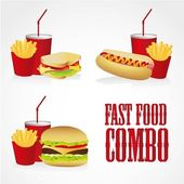 Icons of fast food combos — Stock Vector