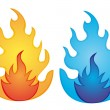 Stock Vector: Orange and blue fire