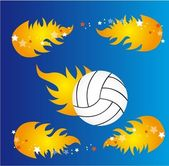Volleyball and fire — Stock Vector