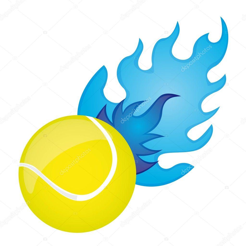 黄色网球球与蓝色的火结束白色背景.矢量– 图库插图