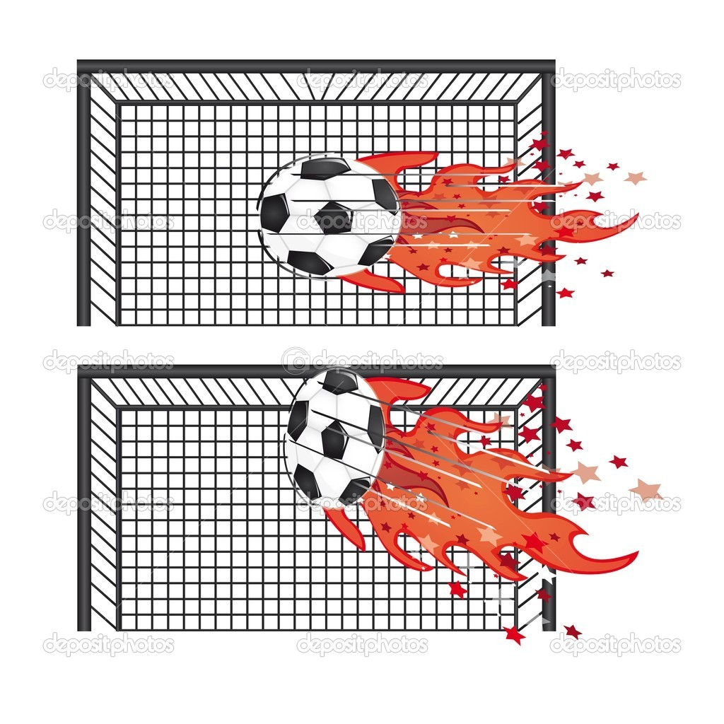 Soccer balls with goal field with fire vector illustration — Stock Vector #8197119