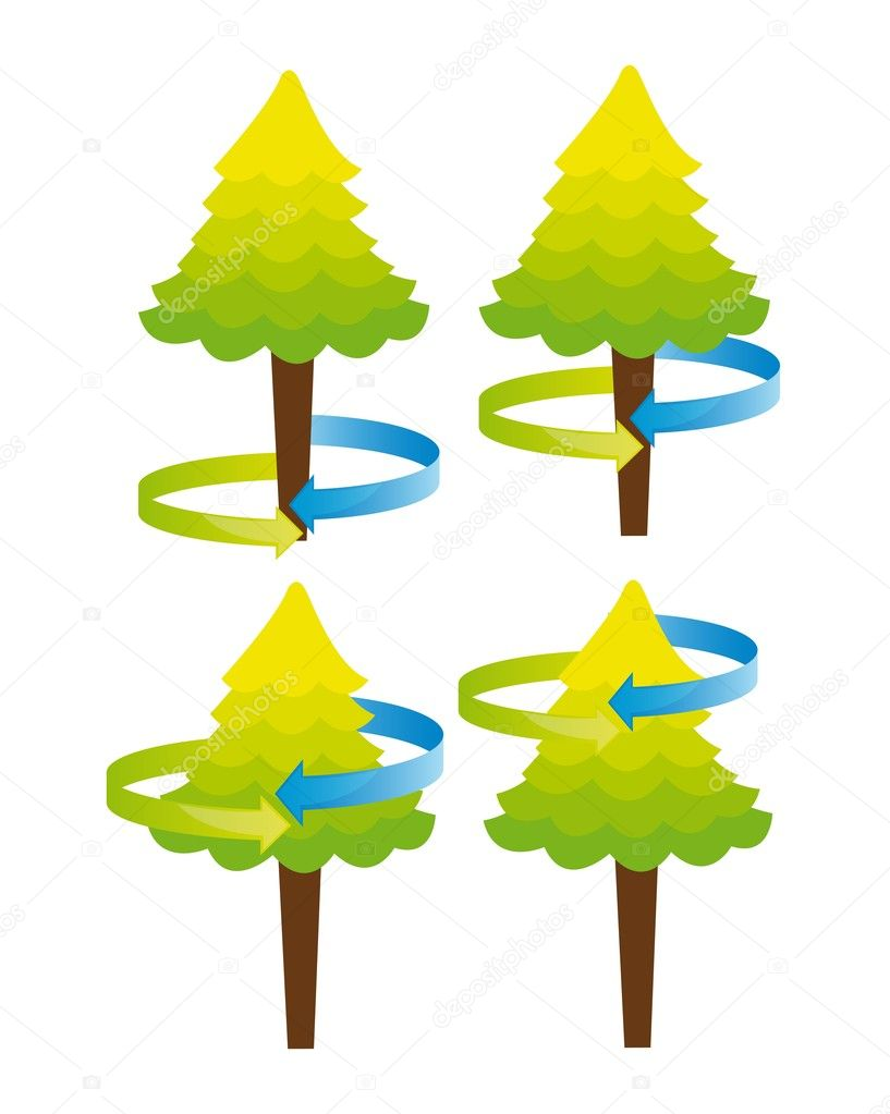 Cute trees with arrow around isolated over white background vector  Stock Vector #8454445
