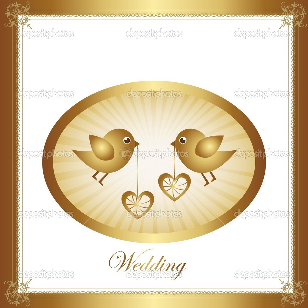 Couple of birds in love, gold illustration, vector graphic — Stock Vector #8675886