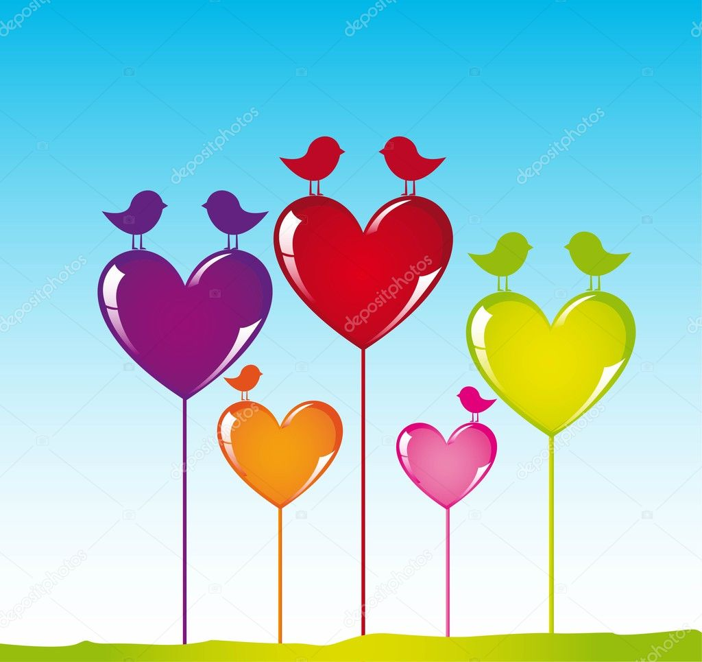 Colors heart with birds on sky background, vector illustration — Stock Vector #8675953