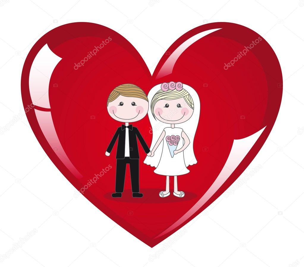 Couple on heart on white background, vector illustration — Imagens vectoriais em stock #8676104