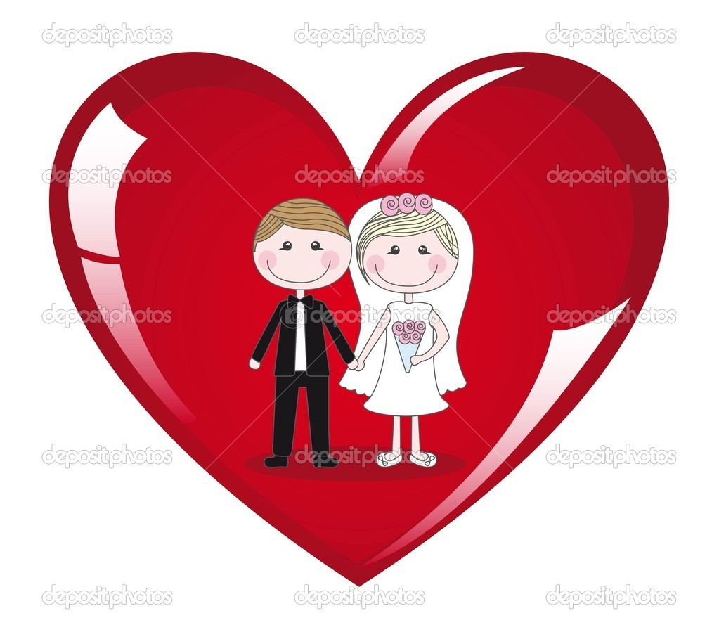 Couple on heart on white background, vector illustration — Imagen vectorial #8676104