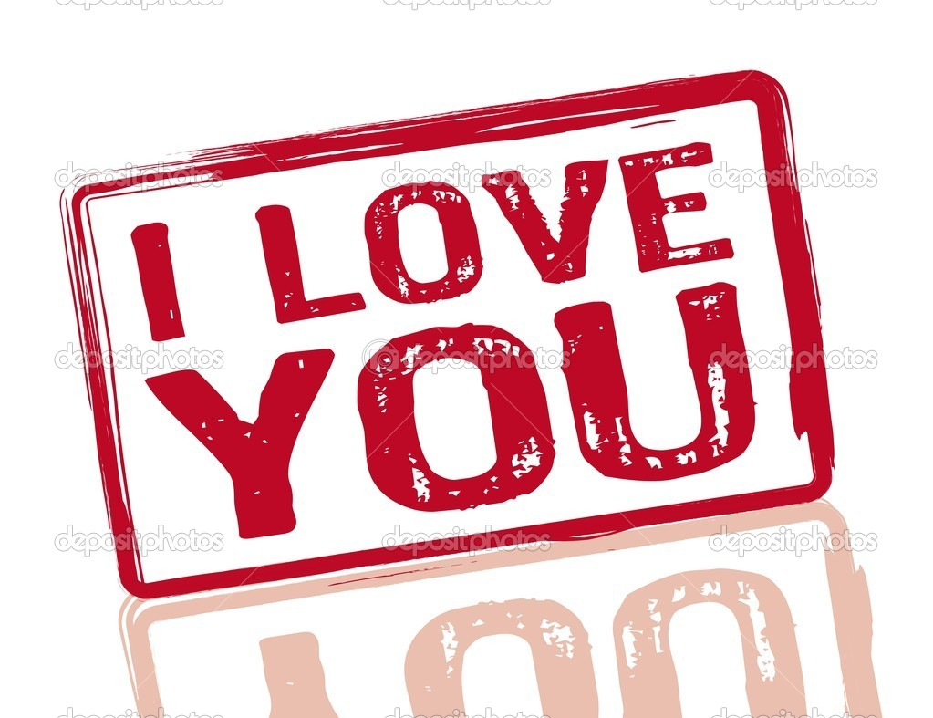I love you red stamp on white background, vector, illustration — Stock Vector #8676106