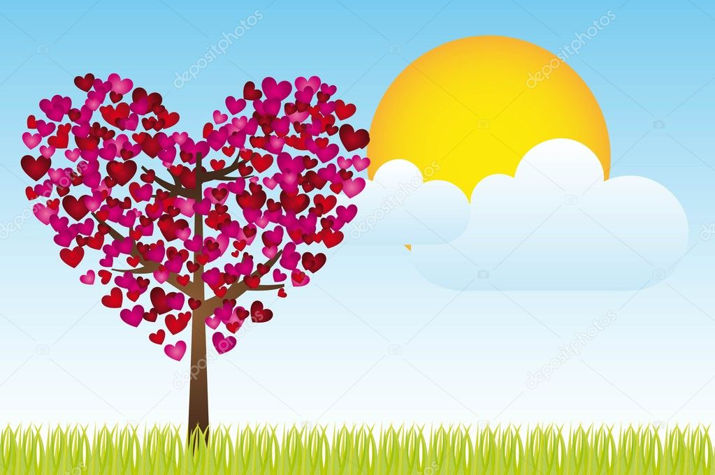 Landscaoe with heart tree, sky and sun, vector illustration, space to insert text or design  Stock Vector #8676136