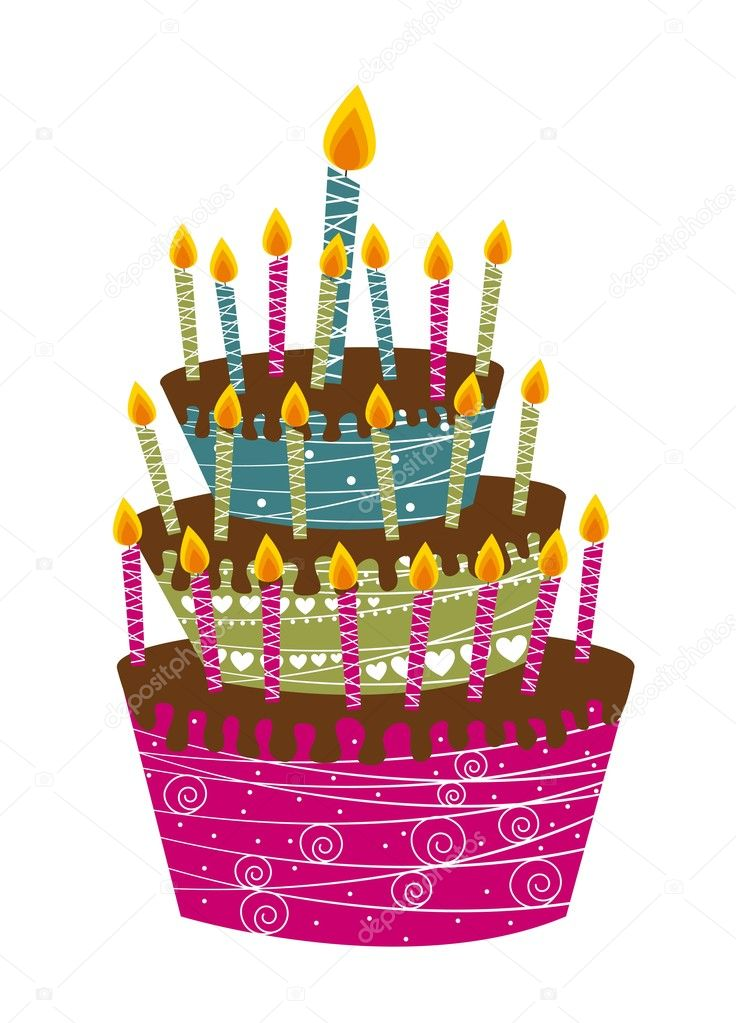 Cute cake happy birthday isolated over white background — Stockvektor #8765296
