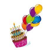 Торт с воздушными шарами — Cтоковый вектор