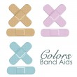 Pastels color Band Aids — Stock Vector