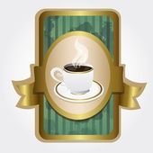 Cup of coffee on label — Stock Vector