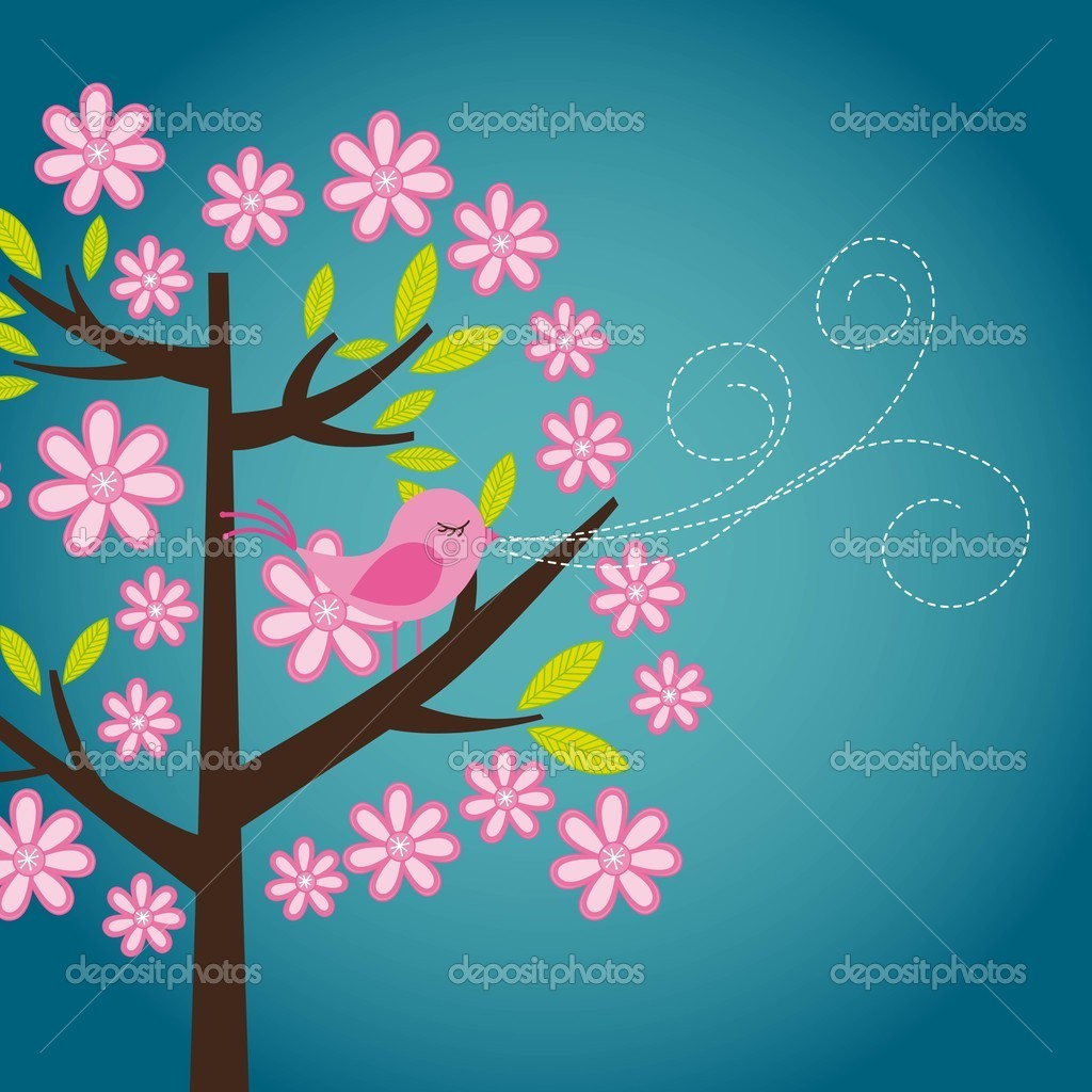 Cute bird over tree with flowers, card. vector illustration — Stock Vector #9526042
