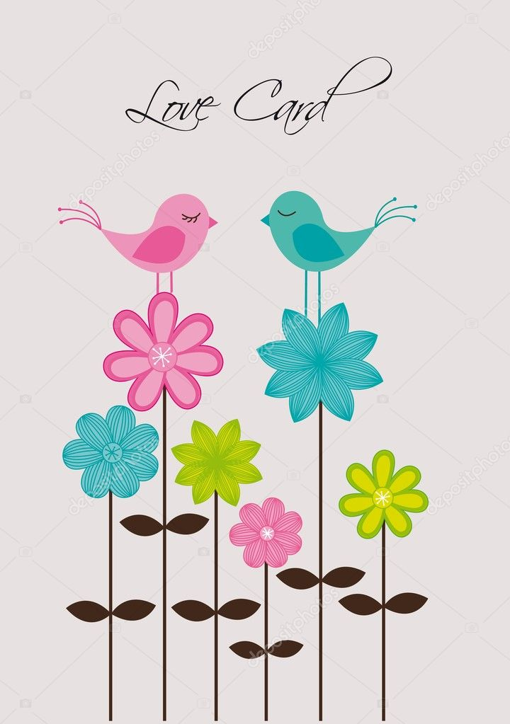 Cute birds over flowers, love.vector illustration — Vettoriali Stock  #9526043