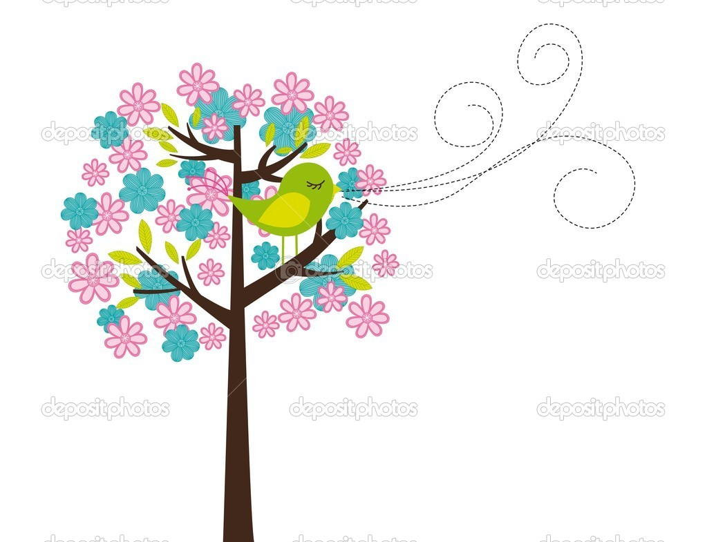 Cute tree and bird isolated over white background. vector — Stock Vector #9526082