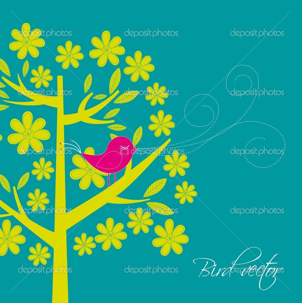 Cute bird with tree card. vector illustration  Vettoriali Stock  #9526104