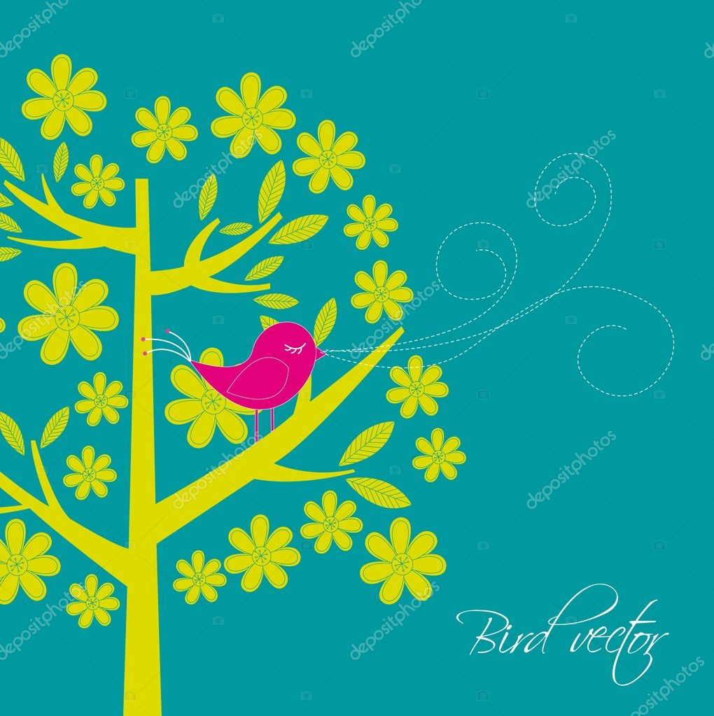 Cute bird with tree card. vector illustration — Векторная иллюстрация #9526104