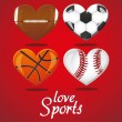 Stock Vector: I love sports