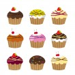 Cute cup cakes — Stock Vector