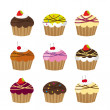 Stock Vector: Cute cup cakes