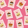Cup cake postage stamps — Stock Vector