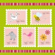 Baby shower postage — Stock Vector