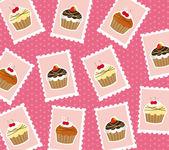 Cup cake francobolli — Vettoriale Stock