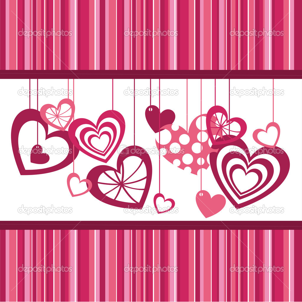 Cute hearts over pink stripes, background. vector illustration — Stock Vector #9838460