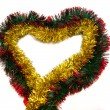 Golden tinsel heart - Stock Photo