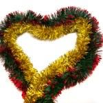 Golden tinsel heart — Stock Photo