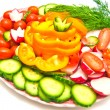 Stock Photo: Vegetables on plate on white